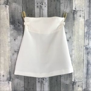 ASOS White mini skirt with silver ring on sides